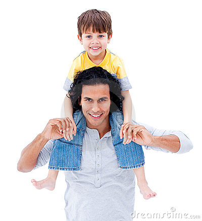 Caring father giving piggyback ride to his boy