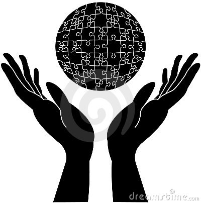 Caring hands with rounded globe