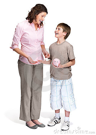 Caring mother teaching her son to save money