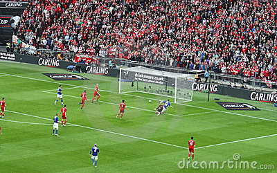 Carling Cup final - Cardiff scores Editorial Stock Image