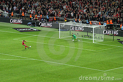 Carling Cup final - Liverpool penalty Editorial Photography