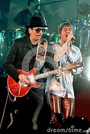 Carlos Santana and Rob Thomas Editorial Stock Image