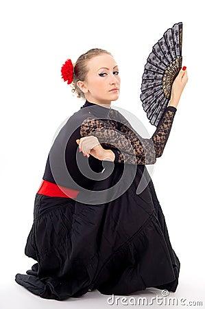 Carmen girl in a dress and a fan