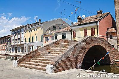 Carmine bridge. Comacchio. Emilia-Romagna. Italy.
