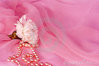 Carnation and pearls on pink silk chiffon