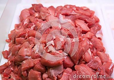 Carne cortada fresca