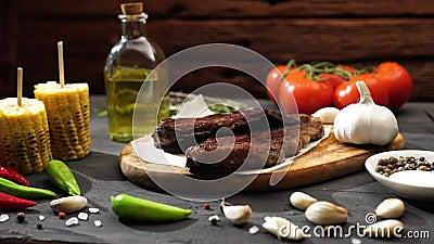 Carne e produtos hortícolas grelhados sobre mesa de madeira rústica Menu Barbecue filme