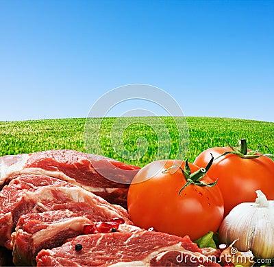 Carne sin procesar y verduras frescas