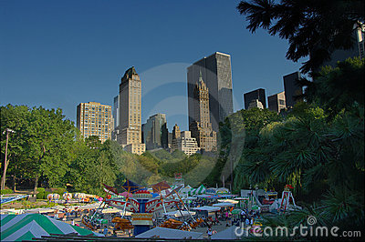 Carnival at central park new york with rides