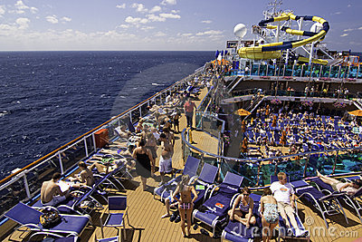 Carnival Cruise Ship - Relaxing on Deck Editorial Photography
