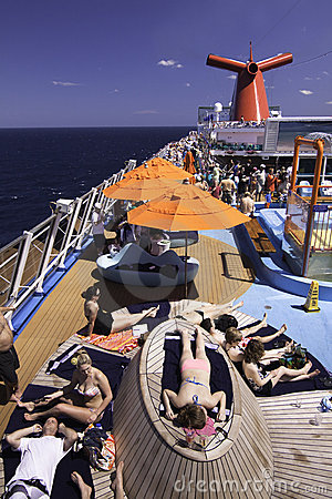 Carnival Cruise Ship - Sunning on Deck Editorial Stock Photo