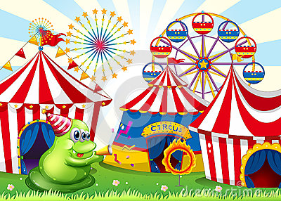 A carnival with a green three-eyed monster