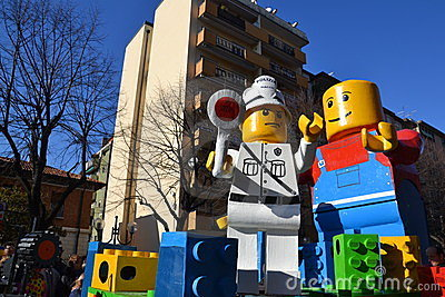 Carnival - Lego blocks float Editorial Stock Photo