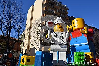 Carnival - Lego blocks float Editorial Stock Photo