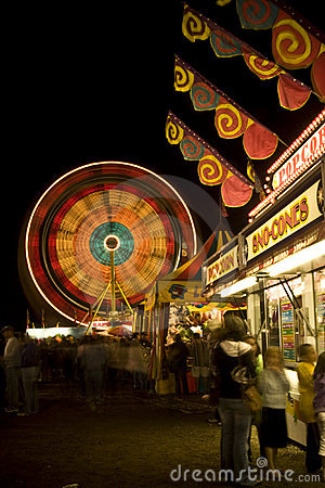 Carnival lights at night