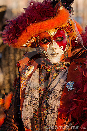 Carnival mask in foreground Editorial Image