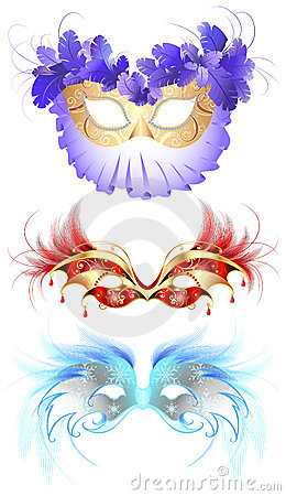 Free Carnival Masks With Feathers Royalty Free Stock Image - 17178016