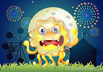 A carnival with a scary yellow monster
