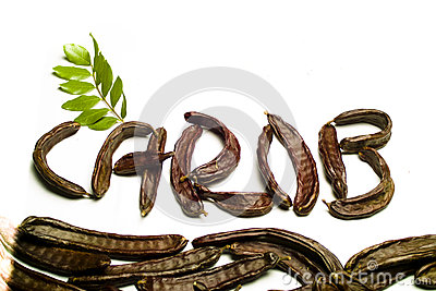 Carob written with  pods