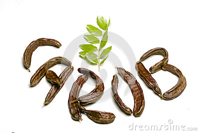 Carob written w pods sign