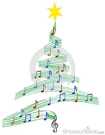Carol Music Christmas Tree Vector Illustration