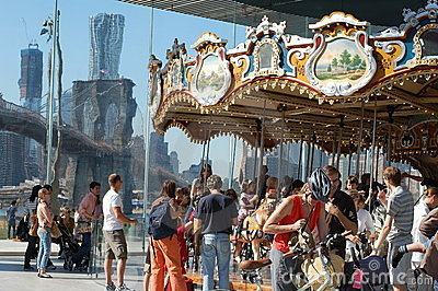 Carousel at Brooklyn Bridge in New York City Editorial Stock Image