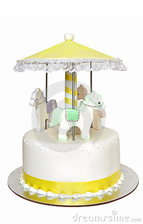 Carousel Cake ~ three little icing horses decorate this sweet carousel ...
