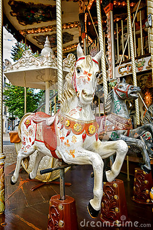 Carousel Horse on Old Amusement Merry Go Round