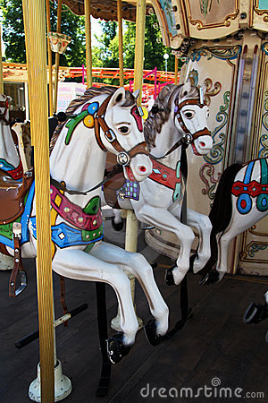 Carousel Horses at Amusement Park