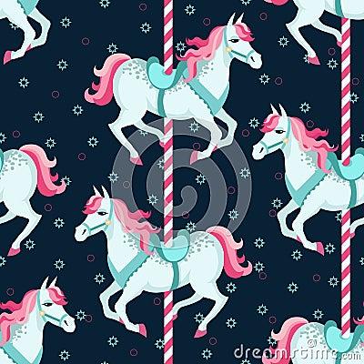 Carousel horses seamless pattern