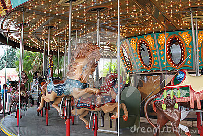 Carousel ride in fairground