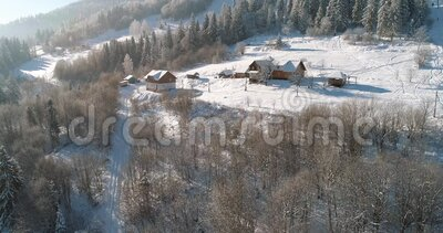 Aerial view of a mountain village. Winter landscape. Drone footage snow covered trees, winter nature. Carpathian Mountains, Ukrain. Carpathian Mountains, Ukraine stock footage