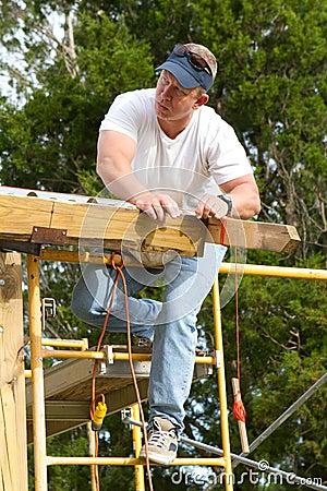 Carpenter Checking Straight Line
