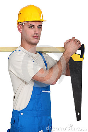 Carpenter with a handsaw.