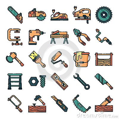 Free Carpenter Icons Pack Stock Photography - 144193572