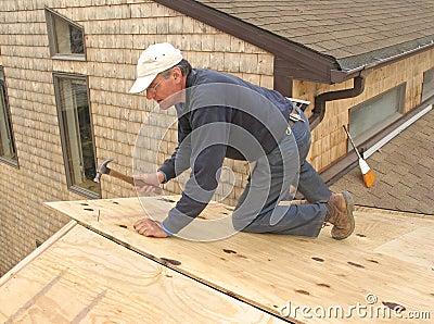 Carpenter installing sheathing to roof
