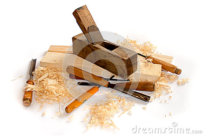 Carpenter planer and tools isolated