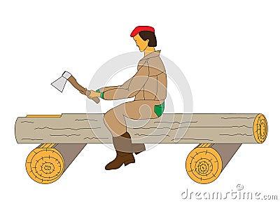 Carpenter rough carve a groove in a log