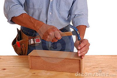 Carpenter setting nail