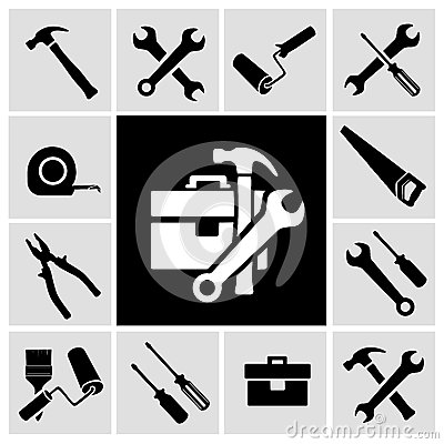Free Carpenter Tools Black Icons Set Royalty Free Stock Photo - 39800955