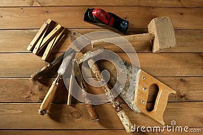Carpenter tools saw hammer wood tape plane gouge