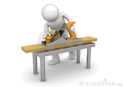 Carpenter working with bench plane