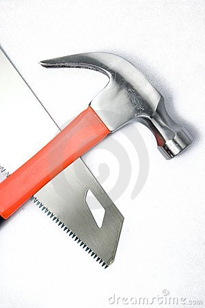 Carpenters Claw hammer and saw