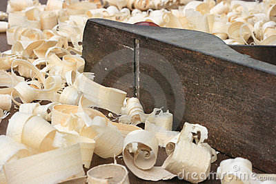 Carpenters Plane and Wood Shavings