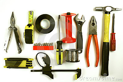 Carpentry tools on white background