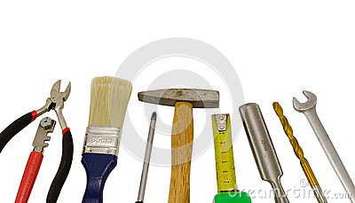 Carpentry work tools on white