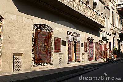 Carpet shop in old town. Baku.