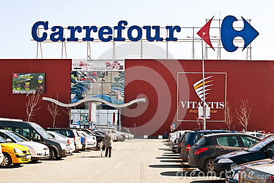 Carrefour supermarket with parking lot Editorial Image