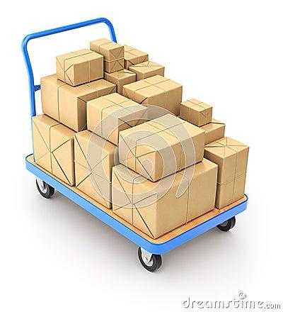 Carrello con i pacchetti della posta