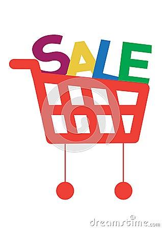 Carrello di acquisto con le lettere di vendita